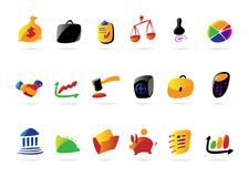Colorful business, finance and legal icons. Colorful icons for business, finance and legal. Vector illustration Stock Photos