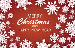 Merry Christmas Happy and New Year Greetings card. White snow flake. . Winter snowflakes background stock photography