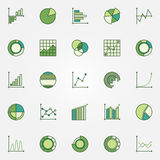 Colorful business graphs icons. Vector green diagram, chart and graph concept signs Royalty Free Stock Photo