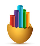 Colorful Business Growth graph broken egg Royalty Free Stock Photos