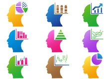 Colorful business human head with statistics design Royalty Free Stock Photo
