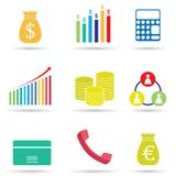 Colorful business icon set on white background. Colorful business icon set isolated on white background Royalty Free Stock Images
