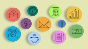 Colorful business icons . 2D line art animation royalty free illustration
