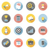 Colorful business icons flat set Stock Image