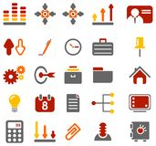 Colorful business icons. Red, orange, yellow and grey icons on white background Stock Images