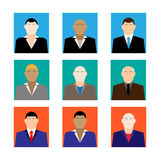 Colorful business Male Faces  Icons Set in Trendy Flat Style Stock Image