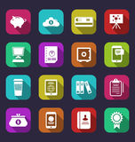 Colorful business and office objects, flat icons with long shado Royalty Free Stock Image