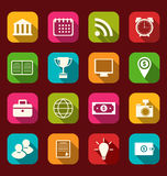 Colorful business and office objects, flat icons with long shado Royalty Free Stock Images