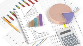 Colorful business pie and bar chart. On documents Stock Image