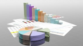 Colorful business pie and bar chart. On documents closeup Royalty Free Stock Photos