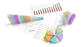 Colorful business pie and bar chart Stock Photography