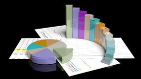 Colorful business pie and bar chart. Isolated on black Royalty Free Stock Image