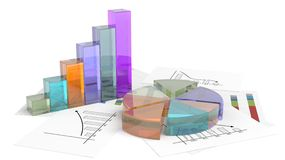 Colorful business pie and bar chart Royalty Free Stock Photos