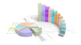 Colorful business pie and bar chart. Isolated on white Stock Photo