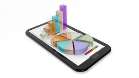 Colorful business pie and bar charts on tablet screen Stock Photo