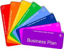 Colorful business plan. Concept colorful eight-step business plan with icons on white background Royalty Free Stock Image