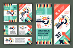 Colorful business stationary template vector, cover presentation,  geometric background, modern roll up x-banner and web Royalty Free Stock Photos
