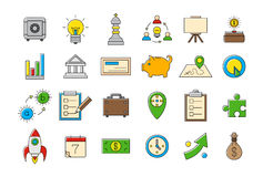 Colorful business strategy  icons set Royalty Free Stock Photo