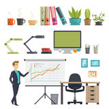 Colorful Business Workplace Icons Set Royalty Free Stock Photo