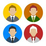 Colorful Businessman Userpics Icons Set in Flat Royalty Free Stock Images