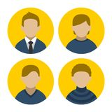 Colorful Businessman Userpics Icons Set in Flat Royalty Free Stock Photography