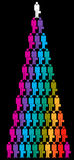 Colorful businessmen pyramid. A colorful pyramid created by rows of small rainbow colored icons of businessmen carrying briefcases with the top figure in white Royalty Free Stock Photography