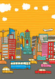 Colorful busy city with copy space Royalty Free Stock Photo