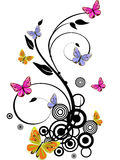 Colorful butterflies. Illustration of colorful butterflies on floral elements Stock Photos