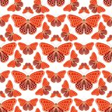 Colorful butterflies with abstract decorative seamless pattern background fly present silhouette and beauty nature. Spring insect decoration. vector Stock Photos