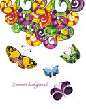 Colorful butterflies background Stock Photos