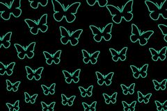 Colorful butterflies on a black background. Isolated butterflies. Template, blank, bright, colorful. vector illustration