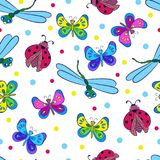 Colorful butterflies,. Bright seamless pattern with colorful butterflies, dragonflies ,ladybugs on a white background. Cheerful vector illustration on the theme stock illustration