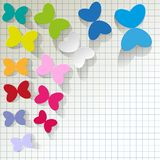 Colorful butterflies on checkered pattern background. Colorful butterflies on checkered pattern background vector illustration