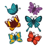 Colorful butterflies collection isolated on white vector poster Stock Photos