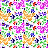 Colorful butterflies and flowers -  Royalty Free Stock Photo