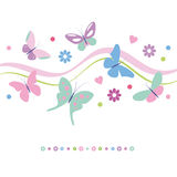 Colorful butterflies flowers and hearts greeting card Royalty Free Stock Photo