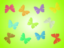 Colorful butterflies. Green background with colorful butterflies royalty free illustration