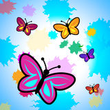 Colorful Butterflies Means Colour Colours And Butterfly. Colorful Butterflies Indicating Flying Butterfly And Spectrum royalty free illustration