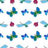 Colorful, butterflies, pattern. Bright seamless pattern with colorful butterflies, dragonflies ,ladybugs on a white background. Cheerful vector illustration on stock illustration