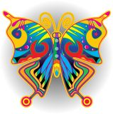 Colorful butterflies retro illustration. stock illustration