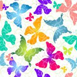 Colorful butterflies. Seamless pattern Stock Photos