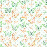 Colorful Butterflies Seamless Pattern stock illustration