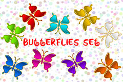 Colorful Butterflies Set Royalty Free Stock Photo