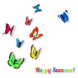 Colorful butterflies with shadows Royalty Free Stock Image