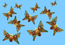 Colorful Butterflies in the sky Stock Photography