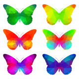 Colorful butterflies with triangular polygons Royalty Free Stock Photos