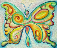 Colorful butterfly. Colorful expressionist painting of a butterfly Stock Photography