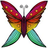 Colorful butterfly in abstract style on white background. Butterfly icon. Colored vector illustration. Animal design. Fashion