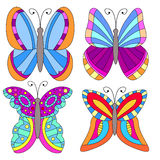 Colorful butterfly collection. On white background Royalty Free Stock Image