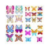 Butterfly Collection. Colorful butterfly collection isolated over white background Royalty Free Stock Image